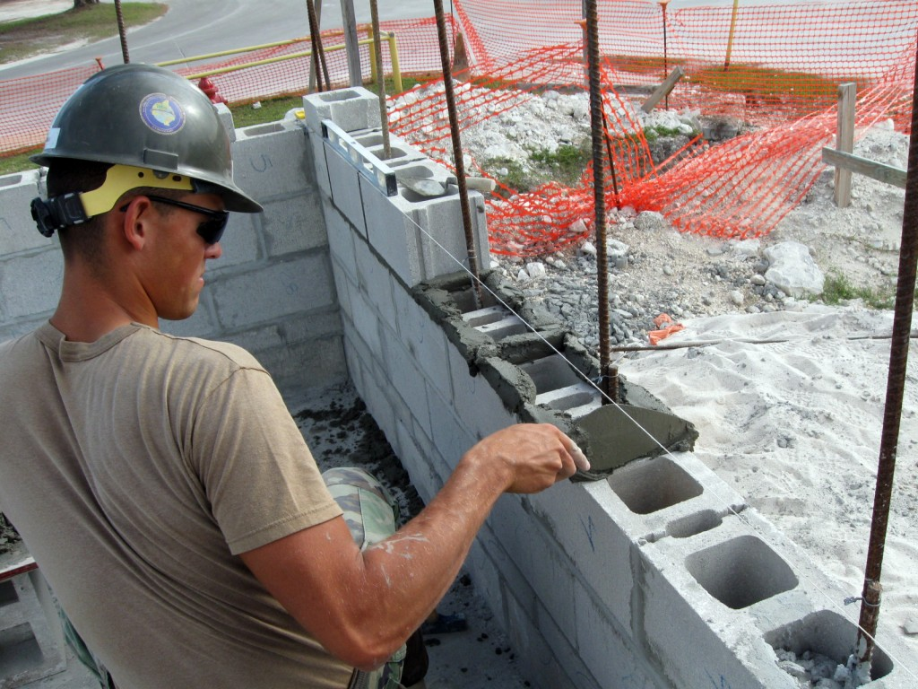 laying concrete blocks
